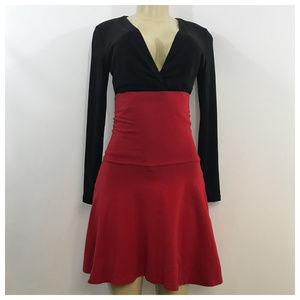 Red High Waist Skater Skirt Medium